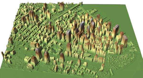 LIDAR image of lower Manhattan