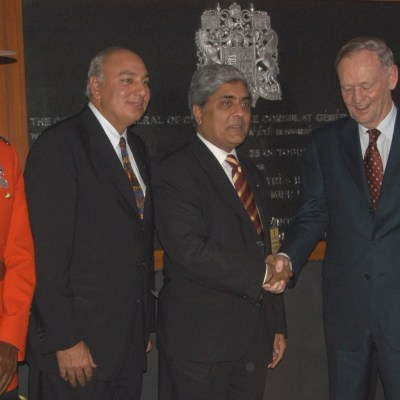With Canada's Minister of Fisheries and Oceans Herb Dhaliwal and Prime Minister Jean Chretien at the official opening of Canadian Consulate in Chandigarh in October 2003.