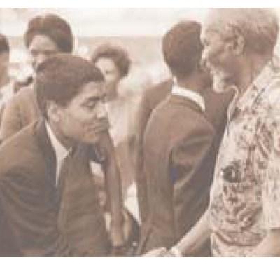 Young Bhupinder Singh Liddar shakes hands with Kenya's founding President Mzee Jomo Kenyatta in 1967