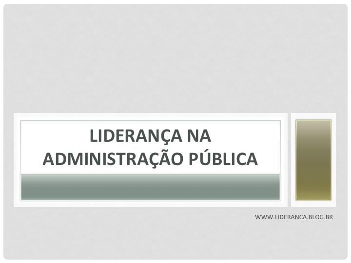 liderança no serviço público
