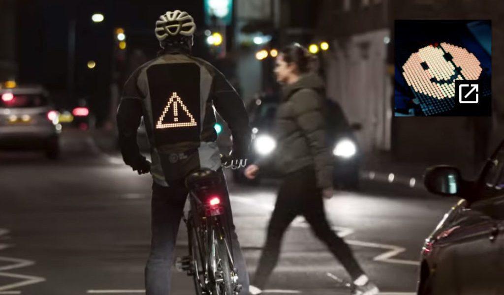 Crean la Emoji Jacket, una chamarra para proteger a ciclistas (VIDEO)
