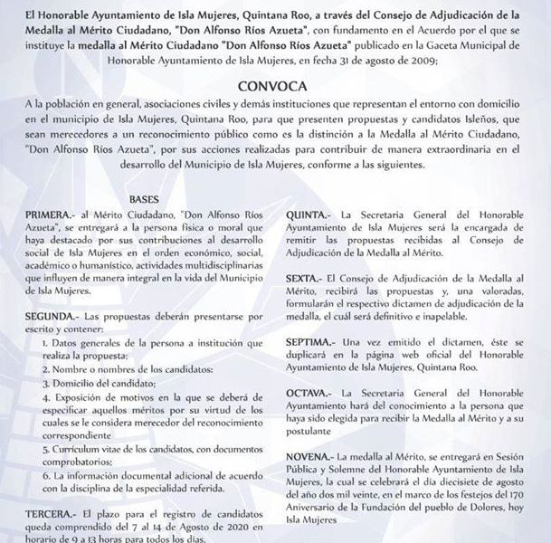 PREPARAN ACTIVIDADES PARA CELEBRAR EL 170 ANIVERSARIO DE LA FUNDACIÓN DE ISLA MUJERES