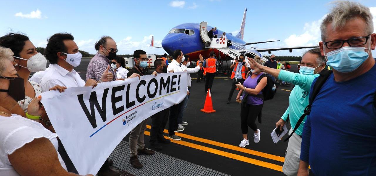 La reactivación económica y turística de Cozumel ¡ya está en marcha!, destaca Pedro Joaquín, al dar la bienvenida a los viajeros provenientes de Texas en la reanudación del vuelo de Southwest