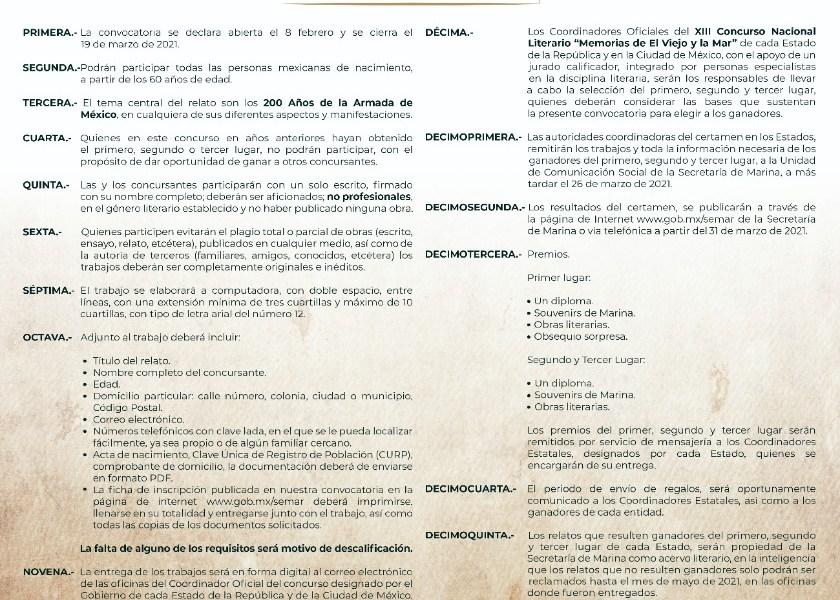 """SECRETARIA DE MARINA Y MUNICIPIO DE ISLA MUJERES INVITAN A ADULTOS MAYORES DE 60 AÑOS, A PARTICIPAR EN EL XIII CONCURSO NACIONAL LITERARIO """"MEMORIAS DE EL VIEJO Y LA MAR """" 2021"""