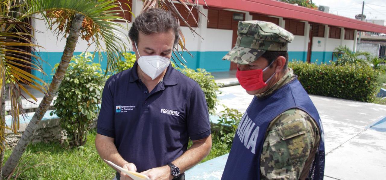 Ante el inicio de la temporada de huracanes 2020, constata Pedro Joaquín protocolos sanitarios y condiciones de los refugios anticiclónicos en Cozumel
