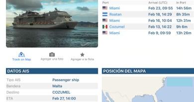 Conoce la ruta del crucero MCS Meraviglia que atraca hoy en Cozumel: Mapa interactivo