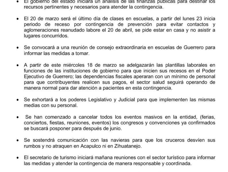 Detectan segundo caso de coronavirus en Guerrero