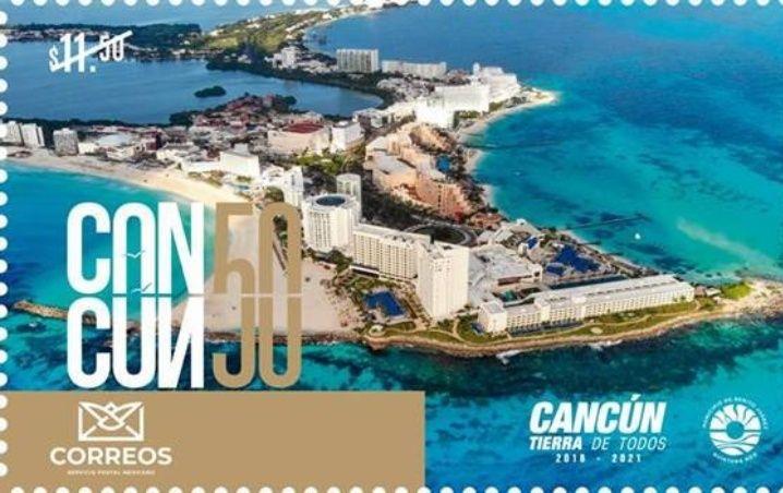 Así luce la estampilla de Cancún 50 años, presentada por Mara Lezama en el Palacio Postal