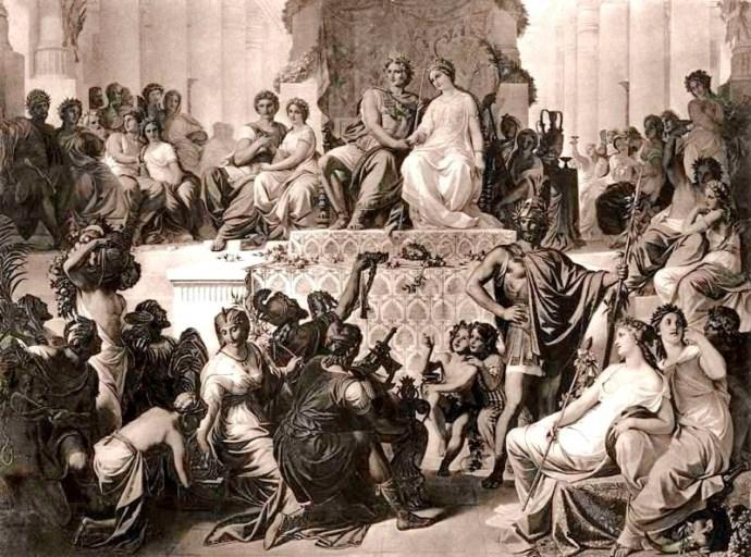 Свадьба в Сузах: Александр с женой в центре, Гефестион по правую руку.