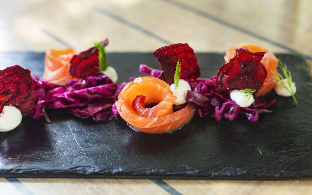 Salmon Gravlax with Red Cabbage Apple Salad and Citrussy Labneh