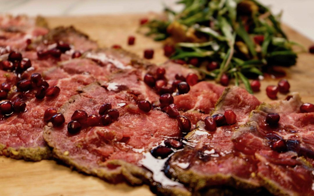 Zaatar Crusted Tenderloin Carpaccio with Wild Thyme & Pomegranate Salad
