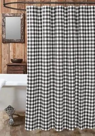 shower curtain black white buffalo check