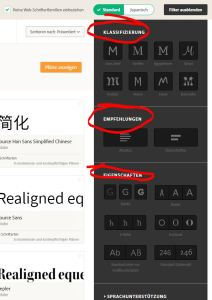 Typekit-Schriften nach Klassifizierung, Eigenschaften und Verwendung filtern