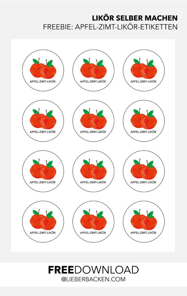 Kostenlose Etiketten für Likör   Apfel-Zimt-Likör Etiketten zum Ausdrucken oder Ausstanzen