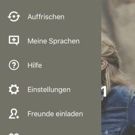 Intuitives Menü in der Babbel-App