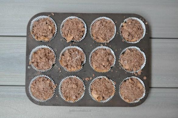 Chocolade kruimelcupcakes met banaan