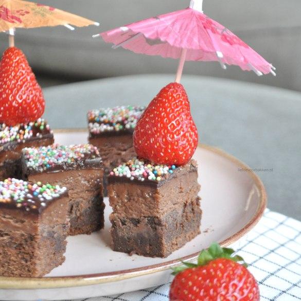 Mini brownie blokjes met Nutella fudge