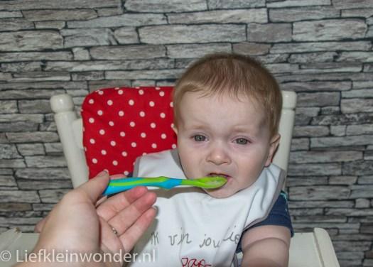 Jayden 24 weken oud babyhapje witlof aardappel