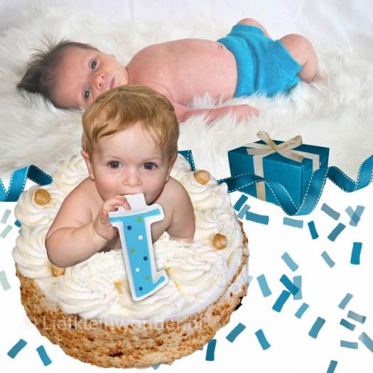 Jayden 1 jaar oud, taart