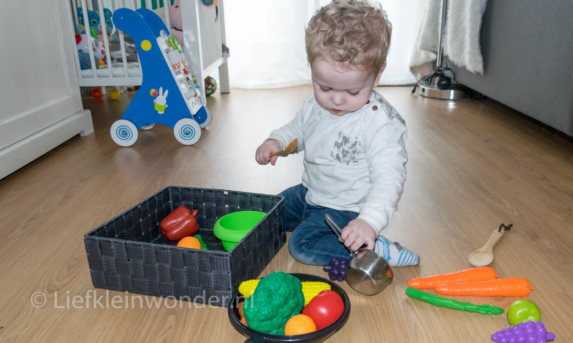 14 maanden en 1 week oud - speelgoed kook spullen groente en fruit