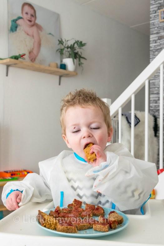 Jayden 15 maanden en 1 week  oud - peuter dreumes broodjes aarbeienjam en ontbijtkoek