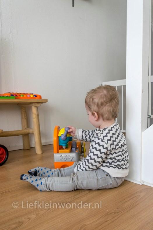 Jayden 15 maanden en 1 week  oud - peuter dreumes zittend spelen