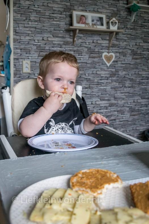 Jayden 15 maanden en 2 weken oud - dreumes ontbijkoek en rijstwafel