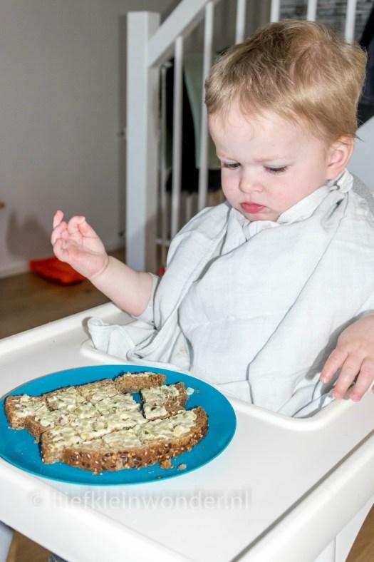 Jayden 16 maanden oud dreumes - sandwich spread geen succes
