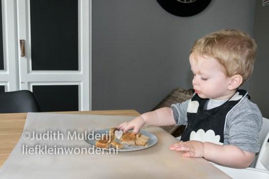 _Jayden 17 maanden en 3 weken oud peuter dreumes - Broodjes pindakaas met hagelslag