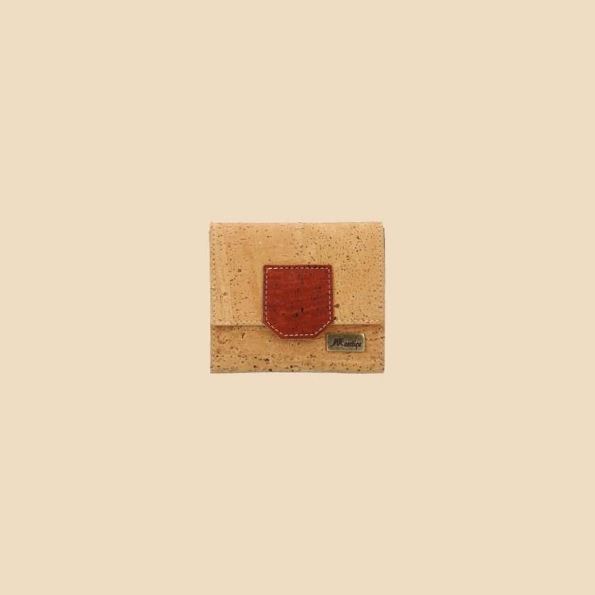 Portefeuille en liège modèle Gaïa vue face couleur rouge