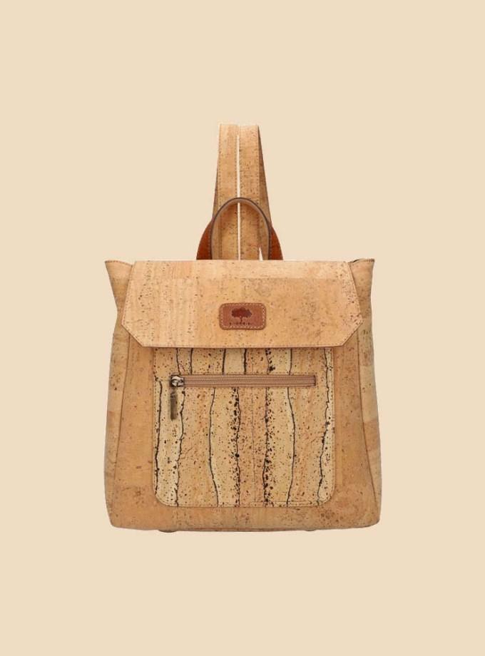 Sac à dos en liège modèle Oduna vue face couleur naturel motifs liane
