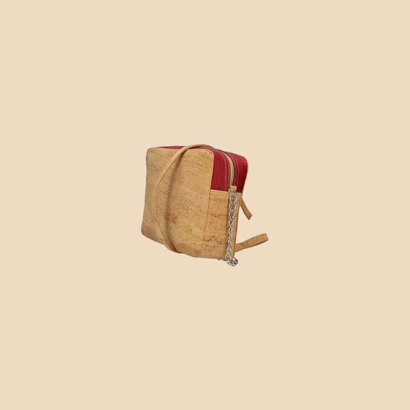 Sac bandoulière en liège modèle Concordia vue biais couleur rouge