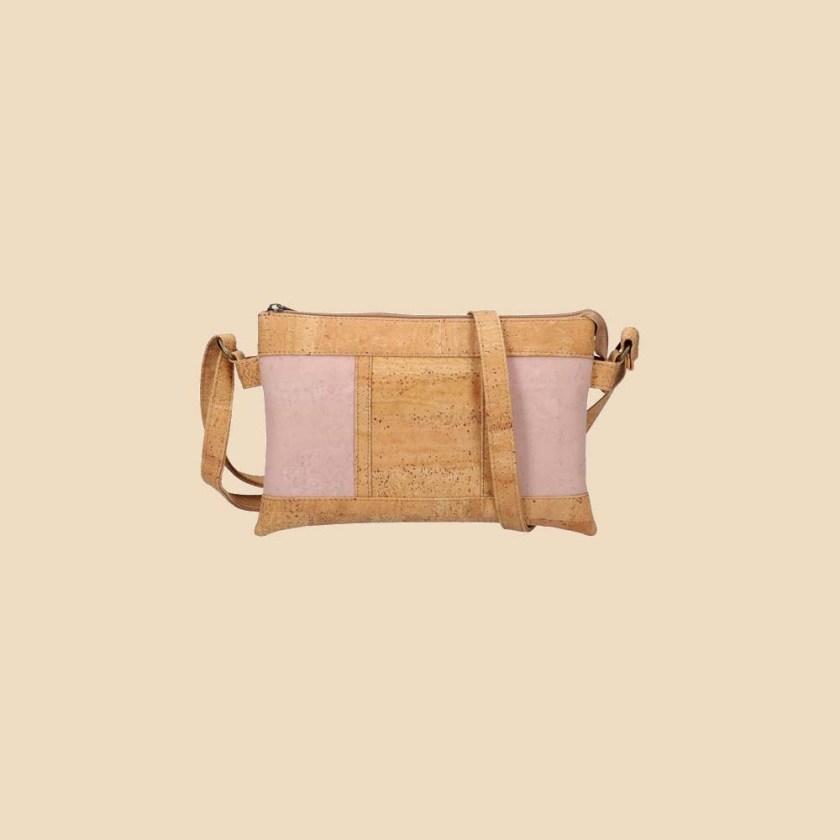 Sac bandoulière en liège modèle Galatée vue face couleur rose