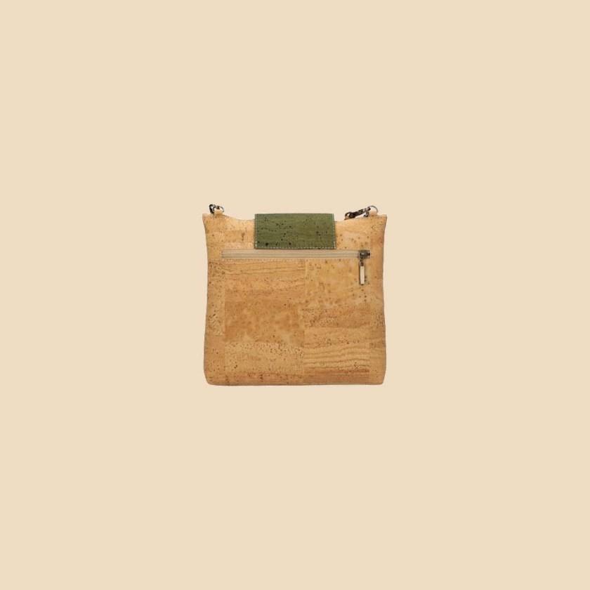 Sac bandoulière en liège modèle Rudolff vue dos couleur forêt