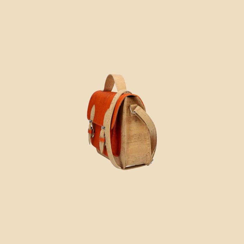 Sac bandoulière en liège modèle Pearl vue biais couleur orange