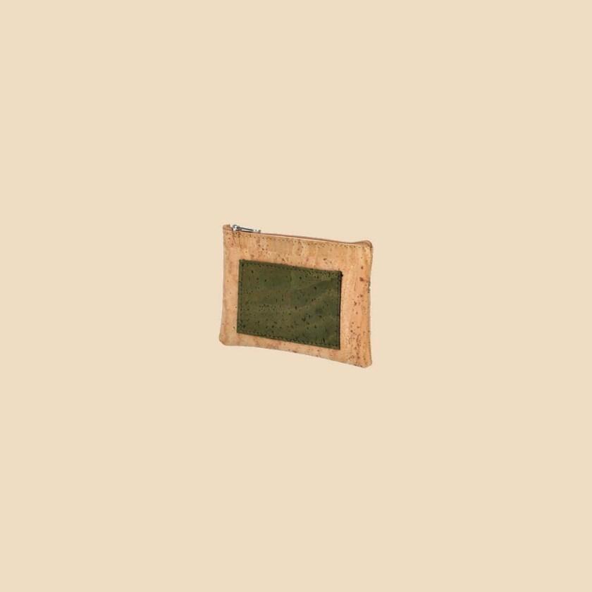 Portefeuille en liège modèle Sherwood vue trois quarts couleur forêt
