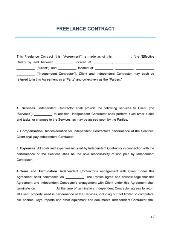 Choosing the right terms and conditions of contract is essential for government and public sector buyers to get best value. Freelance Contract Template Free Download Wise