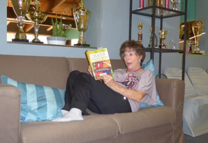 Picture of Myrna reading Sliced Vegetarian