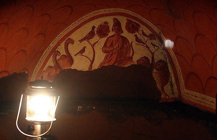 Een fresco in de Romeinse Katakomben van Valkenburg