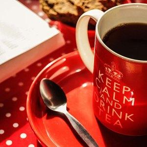 Beker thee speculaas en een boek