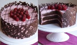 Šokoladinis tortas su avietėmis