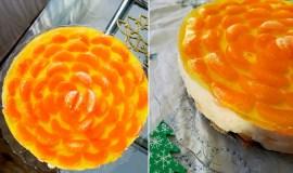Nekeptas tortas su mandarinais