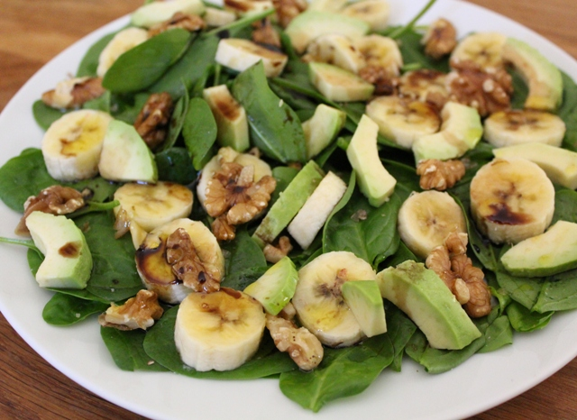Banana, Avocado & Walnut Salad with Balsamic Vinaigrette