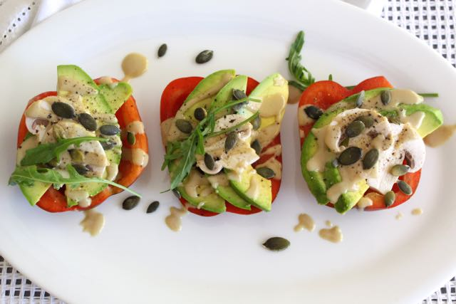 Bell Pepper Slices with Avocado, Mushroom & Tahini Drizzle