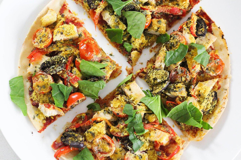 Healthy Tortilla Pizza (gluten-free, dairy-free)