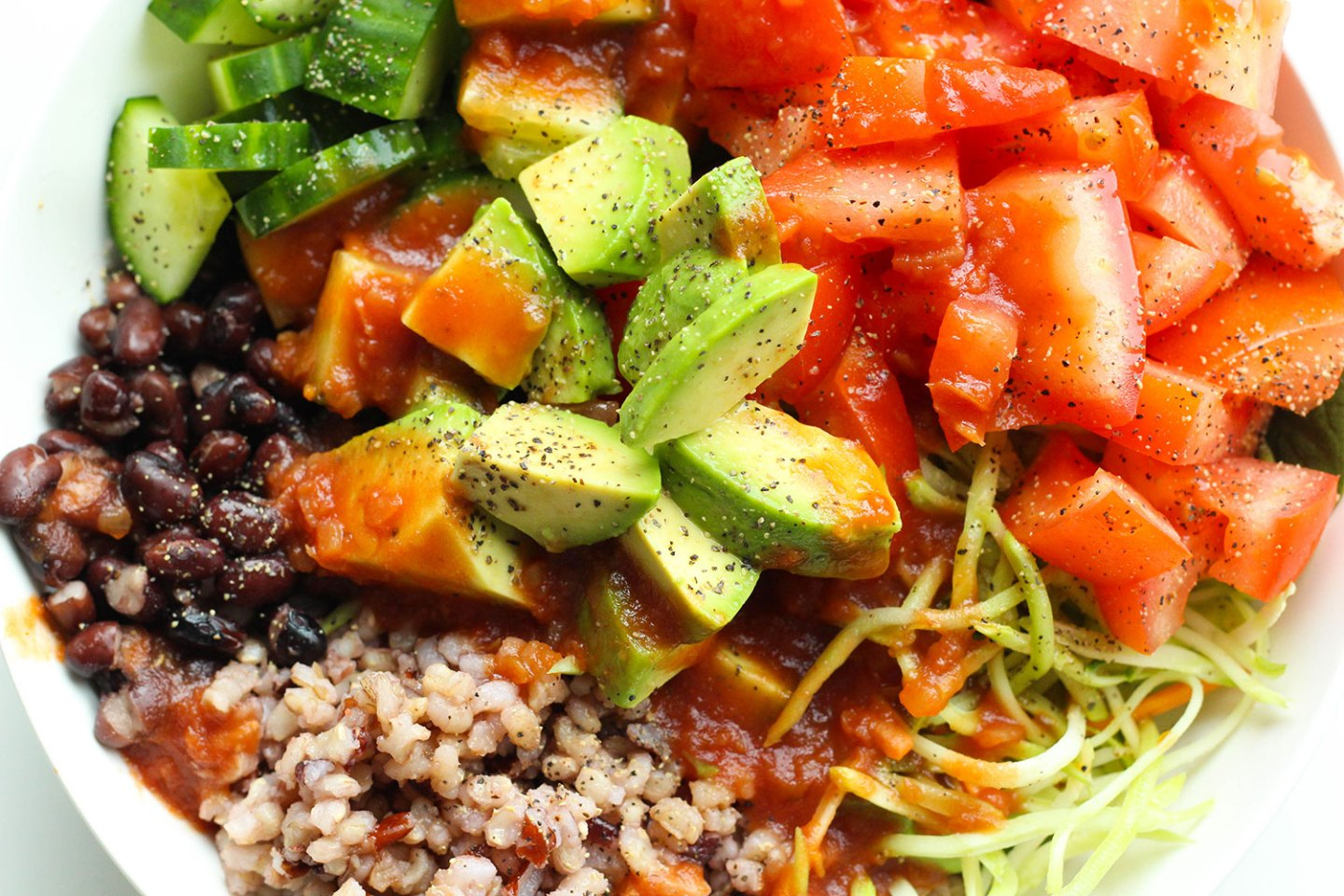 SALSA, BROWN RICE & BLACK BEAN SALAD BOWL (gluten-free, dairy-free)