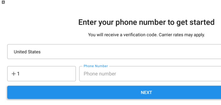 register using phone number