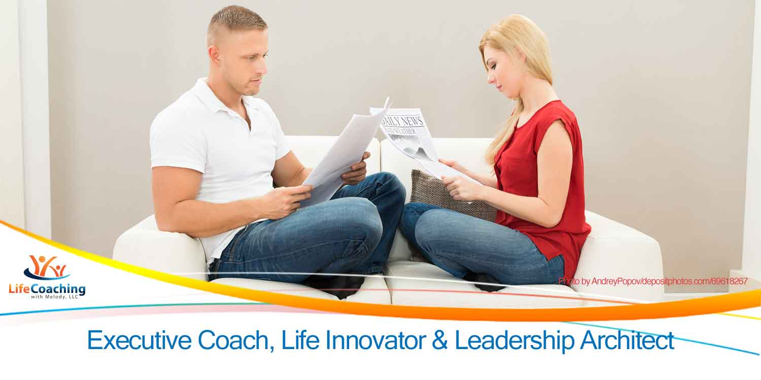 Download my free Relationship Shared Journal interactive pdf, image of a couple sitting on a sofa reading separate newspapers