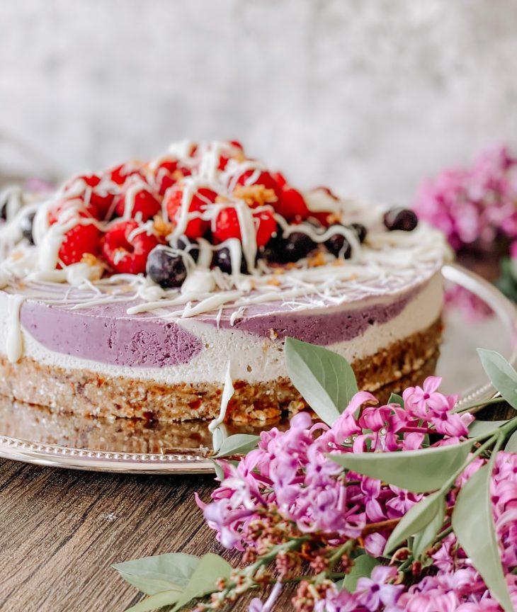 raw vegan paleo raspberry blueberry cheesecake recipe