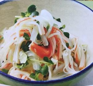 「ẩm thực nhật」món salad thanh cua rau mầm